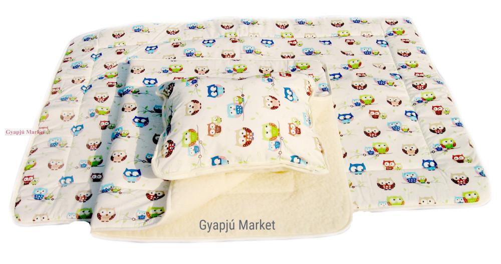 3 részes gyapjú - pamut BAGLYOS gyermek ágynemű (takaró derékalj párna)