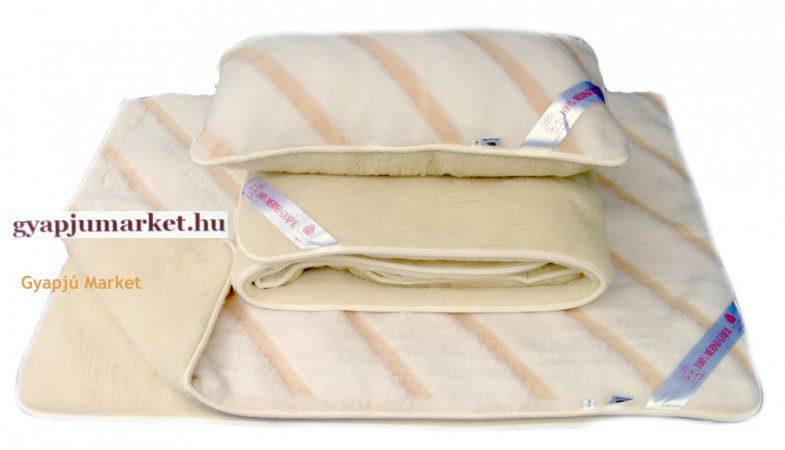 Bárány merino gyapjú garnitúra   LUXUS CSÍKOS MINTÁS (derékalj, takaró, párna) 520g/m2