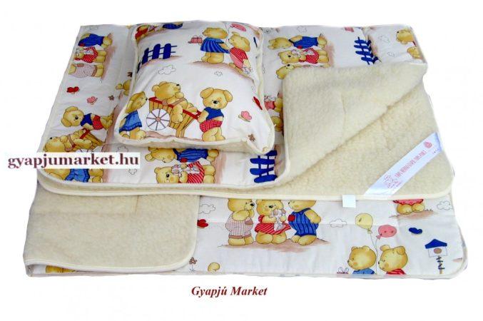 Gyermek 3 részes bárány merino gyapjú/pamut garnitúra HÁROM MACI MINTÁS (takaró, derékalj, párna)