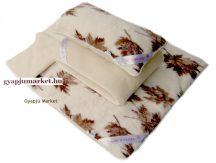Bárány merino gyapjú garnitúra  JUHARLEVÉL MINTÁS (derékalj, takaró, párna) 520g/m2