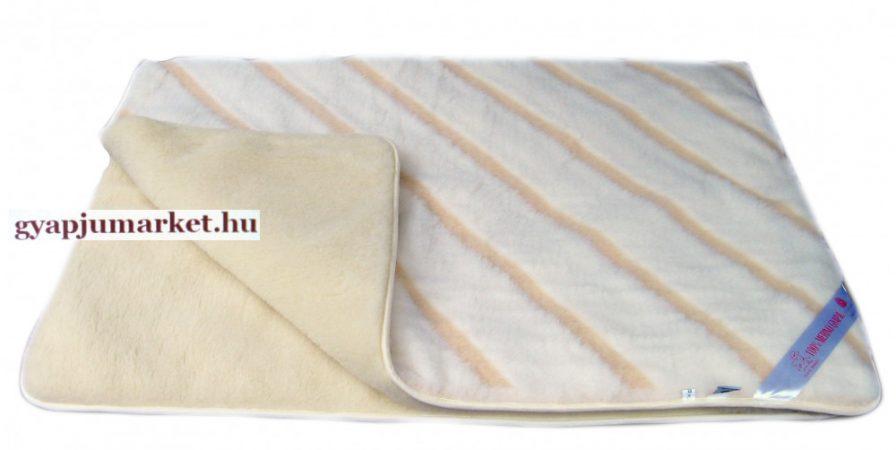 Bárány merino gyapjú takaró - ágytakaró LUXUS CSÍKOS MINTÁS 520g/m2
