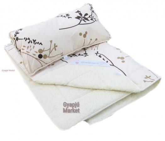 Merino gyapjú  / pamut szett (takaró, párna) geometriai mintás