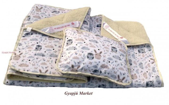 3 részes bárány merino gyapjú / pamut BAGOLY-NYUSZI MINTÁS gyermek garnitúra (takaró derékalj párna)