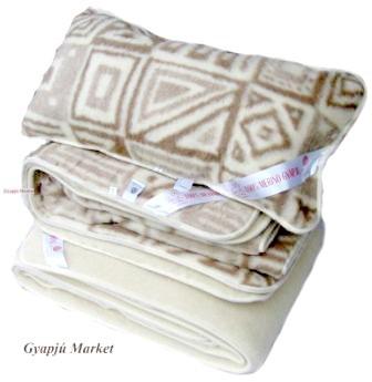 Bárány merino gyapjú garnitúra   MOZAIK MINTÁS (derékalj, takaró, párna) 520g/m2