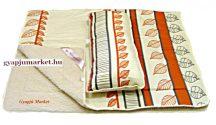 2 részes merino gyapjú  / pamut szett (takaró, párna) levélmintás
