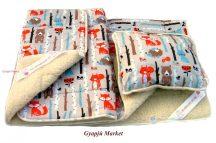 Gyermek bárány merino gyapjú/pamut 3 részes garnitúra ERDEI ÁLLATOK MINTÁS (takaró, derékalj, párna)
