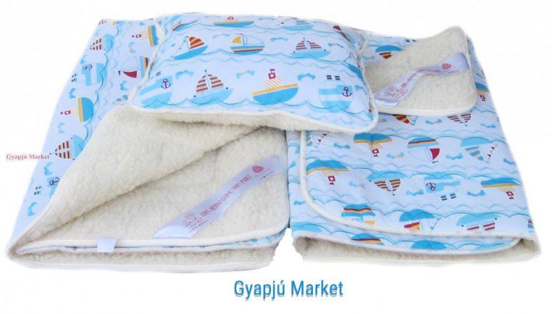 3 részes bárány merino gyapjú / pamut gyerek szett KISHAJÓS MINTA (takaró derékalj párna)