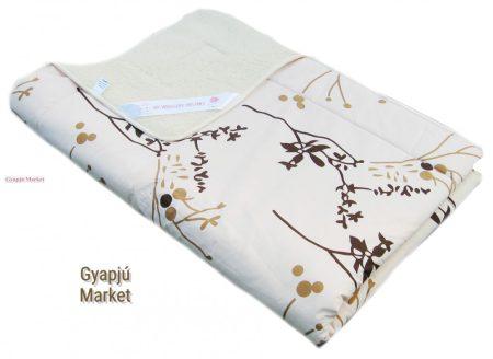 Merino gyapjú / pamut szett drapp modern mintás (takaró, párna)