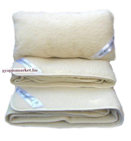 Bárány merino gyapjú garnitúra natúr  (derékalj, takaró, párna) 450g/m2