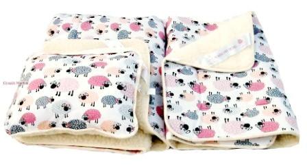 Gyermek 3 részes bárány merino gyapjú / pamut garnitúra BARIKÁS MINTA (takaró derékalj párna)