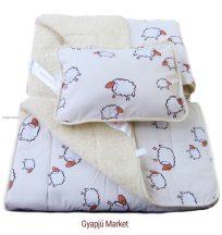 3 részes bárány merino gyapjú / pamut barikás gyermek garnitúra