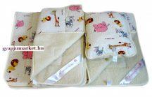 3 részes bárány merino gyapjú / pamut gyerek garnitúra ÁLLATFIGURÁS MINTA (takaró derékalj párna)