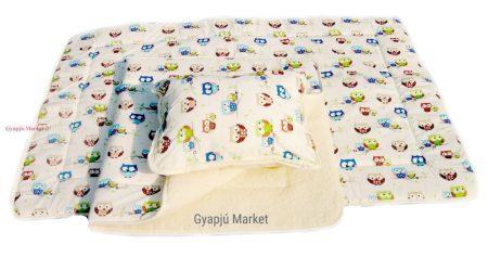 3 részes bárány merino gyapjú / pamut BAGOLY MINTÁS gyermek garnitúra (takaró derékalj párna)