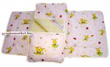 3 részes gyapjú / pamut gyermek ágynemű halványrózsaszín és sárga MÉHECSKÉS