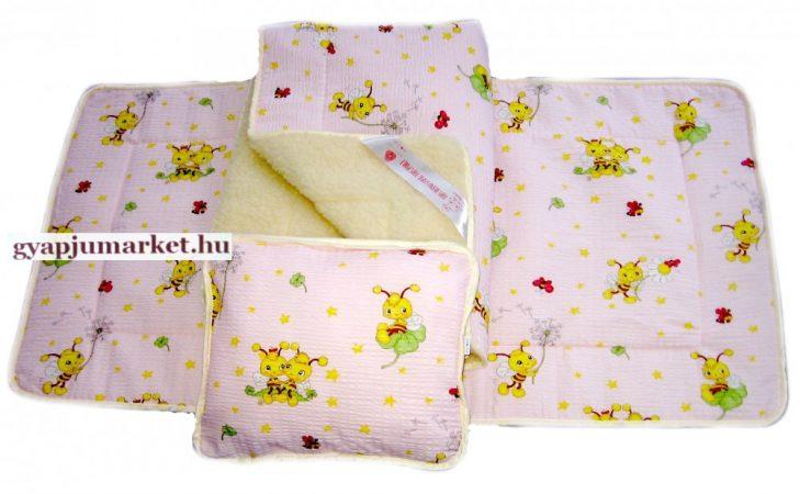 3 részes bárány merino gyapjú / pamut gyermek garnitúra halványrózsaszín és sárga MÉHECSKÉS