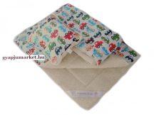 3 részes bárány merino gyapjú / pamut gyermek garnitúra AUTÓS MINTA (takaró + derékalj +  párna)