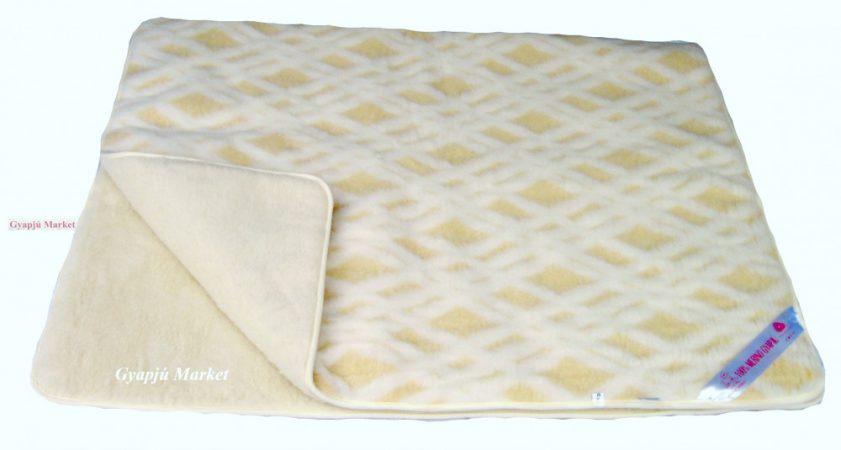 Bárány merino gyapjú takaró - ágytakaró  RÁCSOS MINTÁS 520g/m2