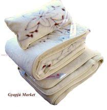 Bárány merino gyapjú garnitúra   VIRÁGVARÁZS MINTÁS (derékalj, takaró, párna) 520g/m2