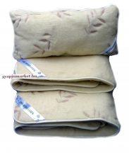 Bárány merino gyapjú ágynemű garnitúra, levélmintás  (derékalj, takaró, párna)